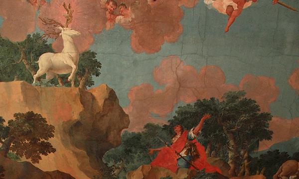 Hl. Hubertus im Deckengemälde der Schlosskapelle
